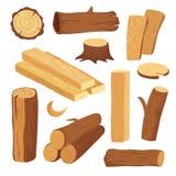 Tecknad filmtimmer Träjournal och stam, stubbe och planka Trävedträjournaler Vektor för ädelträkonstruktionsmaterial stock illustrationer