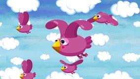 Tecknad filmtitelbakgrund Söta fåglar flyger i himlen royaltyfri illustrationer