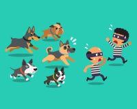 Tecknad filmtjuvar och vakthundkapplöpning Fotografering för Bildbyråer