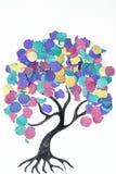 Tecknad filmträd med färgrika konfettier Royaltyfria Foton