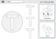 Tecknad filmtrådbuss och sköldpadda Spårande arbetssedel för alfabet: writi stock illustrationer
