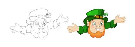 Tecknad filmtroll i grön bonjour med hatten och gladlynt presentation royaltyfri illustrationer