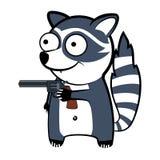 Tecknad filmtvättbjörn med ett vapen Arkivfoto