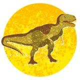 Tecknad filmtyrannosaur, bild med dinosaurien in i cirkeln som isoleras på vit bakgrund Arkivbild