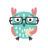 Tecknad filmugglafågel i glasögon som rymmer för teckenvektor för bok en färgrik illustration Fotografering för Bildbyråer