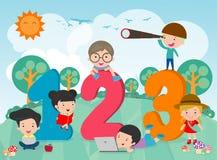 Tecknad filmungar med 123 nummer, barn med nummer, vektorillustration royaltyfri illustrationer