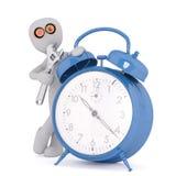 Tecknad filmuppfinnareBeside Blue Alarm klocka med hjälpmedlet stock illustrationer