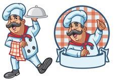 Tecknad filmuppsättning av den lyckliga kocken royaltyfri illustrationer