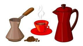 Tecknad filmuppsättning av kaffeobjekt Arkivbilder