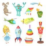 Tecknad filmuppsättning av leksaker för ungepojkar och flickor Roliga vektorsymboler vektor illustrationer