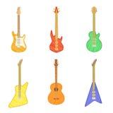 Tecknad filmuppsättning av olik elkraft och akustiska gitarrer på vit bakgrund också vektor för coreldrawillustration stock illustrationer