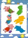 Tecknad filmuppsättning av unga svin för medeltida djura tecken - sökandelek med skuggor Arkivfoton