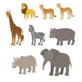 Tecknad filmuppsättning: elefant för noshörning för flodhäst för sebra för giraff för lejonleopardgepard Royaltyfria Bilder