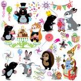 Tecknad filmuppsättning med födelsedagpartiet stock illustrationer