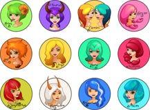 Tecknad filmuppsättningen av zodiak undertecknar gulliga flickor Royaltyfri Fotografi