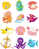 Tecknad filmuppsättning av havsdjur Arkivbilder