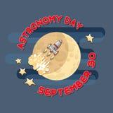 Tecknad filmutrymmeraket och måne Celestial Vector illustration Fotografering för Bildbyråer