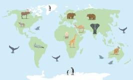 Tecknad filmvärldskarta med vilda djur Arkivfoton