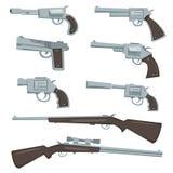 Tecknad filmvapen, revolver och geväruppsättning Royaltyfri Fotografi