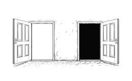 Tecknad filmvektor av den öppna trädörren för beslut två vektor illustrationer
