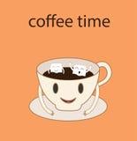 Tecknad filmvektor av kaffe och socker Arkivfoton