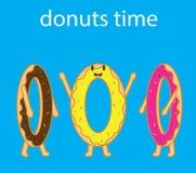 Tecknad filmvektor av tre roliga donuts Royaltyfria Foton