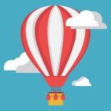 Tecknad filmvektoraerostat Aerostat och moln på blå bakgrund stock illustrationer