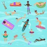 Tecknad filmvektorfolket ställde in i havet eller havet som utför olika aktiviteter Man och kvinnligt solbada, simning, dykning vektor illustrationer