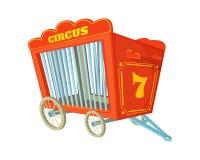 Tecknad filmvektorillustration av cirkusburen Vagn för djur stock illustrationer