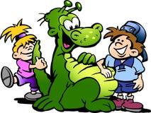 Tecknad filmvektorillustration av en dinosaurie som har gyckel med ungar vektor illustrationer