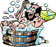 Tecknad filmvektorillustration av en gammal smutsig man som tvättar honom selv i ett träbadkar Arkivfoto