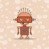 Tecknad filmvektorillustration av en lycklig liten robot med gröna ögon Royaltyfri Bild