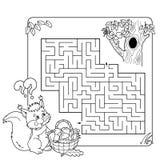 Tecknad filmvektorillustration av utbildningslabyrint eller labyrintleken Royaltyfri Bild