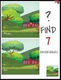 Tecknad filmvektorillustrationen av finner skillnaderna mellan Pict Arkivfoton