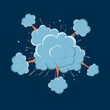 Tecknad filmvektorn bombarderar explosion med rök stock illustrationer