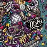 Tecknad filmvektorn klottrar diskomusikramen stock illustrationer