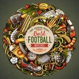 Tecknad filmvektorn klottrar fotbollillustrationen Royaltyfri Foto