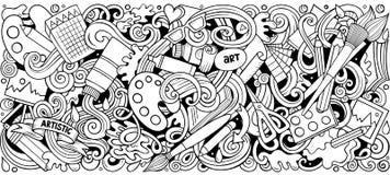 Tecknad filmvektorn klottrar konst- och designhorisontalbandillustrationen stock illustrationer
