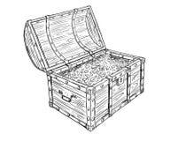 Tecknad filmvektorteckningen av gammalt öppet piratkopierar skattbröstkorgen med guld- mynt inom vektor illustrationer