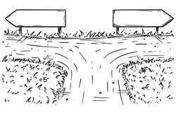 Tecknad filmvektortvärgata med tomt beslut för tecken för riktning två stock illustrationer