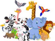 Tecknad filmvilda djurbakgrund royaltyfri illustrationer