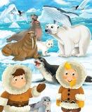 Tecknad filmvinterplats med eskimos och snödjur stock illustrationer