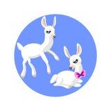tecknad filmvit stillar lamm två stock illustrationer