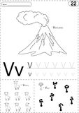 Tecknad filmvolkano, vikunjaull och vas med blommor Alfabetspåring stock illustrationer