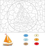 Tecknad filmyacht Färg vid den bildande leken för nummer för ungar stock illustrationer