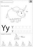 Tecknad filmyak och yacht Spårande arbetssedel för alfabet: handstilA-Z a stock illustrationer