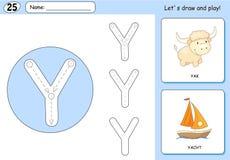 Tecknad filmyak och yacht Spårande arbetssedel för alfabet: HandstilA-Z royaltyfri illustrationer