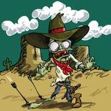 Tecknad filmzombiecowboy med grön hud Arkivbild