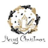 tecknad hand för kort jul Royaltyfri Fotografi