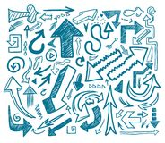 tecknad hand för pil klotter Arkivfoton